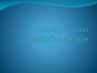 Alternativni izvori električne energije