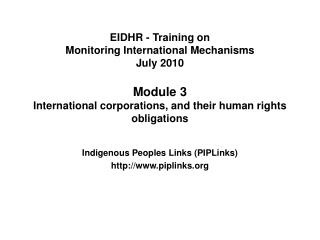 EIDHR - Training on  Monitoring International Mechanisms July 2010  Module 3  International corporations, and their huma