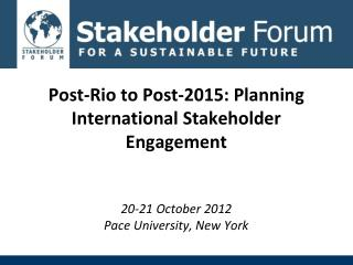 Framework for Action for Post-Rio/Post- 2015 Breakout Groups Format