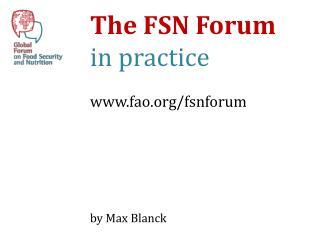 The FSN Forum in  practice  fao / fsnforum