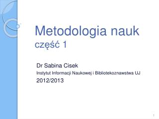 Metodologia nauk  część 1