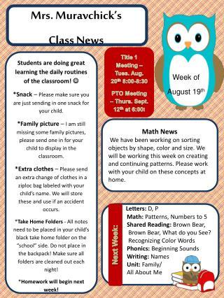 Mrs.  Muravchick's Class News
