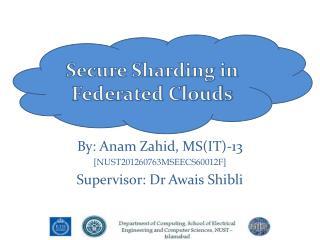 By: Anam Zahid, MS(IT)-13 [NUST201260763MSEECS60012F] Supervisor: Dr Awais Shibli