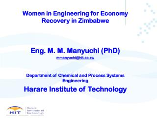 Women in Engineering for Economy Recovery in Zimbabwe