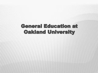 General Education at Oakland University