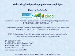 Atelier de génétique des populations empirique Thierry De  Meeûs