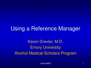 Using a Reference Manager
