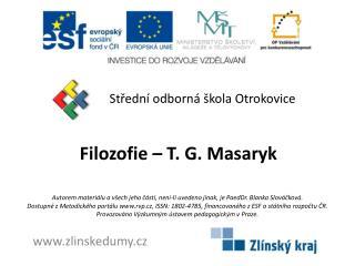 Filozofie – T. G. Masaryk