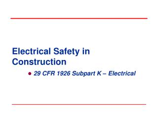 Electrical Safety in Construction