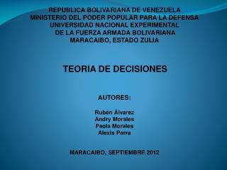 REPUBLICA BOLIVARIANA DE VENEZUELA MINISTERIO DEL PODER POPULAR PARA LA DEFENSA