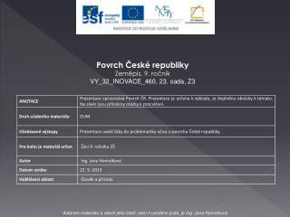 Povrch České republiky Zeměpis, 9. ročník VY_32_INOVACE_460,  23. sada, Z3