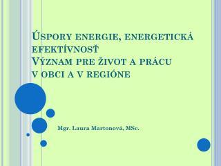 Úspory energie, energetická efektívnosť Význam pre život aprácu vobci a vregióne