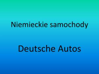 Niemieckie samochody