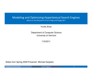 Modeling and Optimizing Hypertextual Search Engines Based on the Reasearch of Larry Page and Sergey Brin