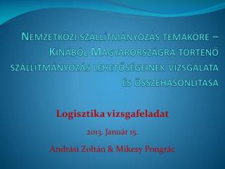 Logisztika vizsgafeladat 2013. Január 15. Andrási Zoltán & Mikesy Pongrác