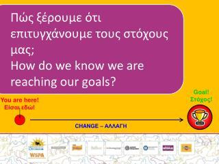Πώς ξέρουμε ότι επιτυγχάνουμε τους στόχους μας; How do we know we are reaching our goals?