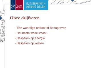 - Een waardige entree tot Bodegraven - Het beste werkklimaat  Besparen op energie
