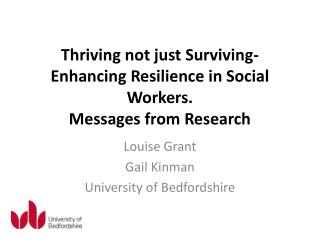 Thriving not just Surviving- Enhancing Resilience in Social Workers. Messages from Research
