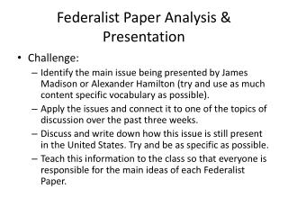 Federalist Paper Analysis & Presentation