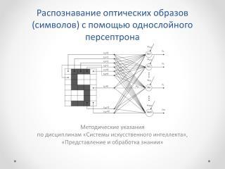 Распознавание оптических образов  ( символов ) с  помощью однослойного персептрона