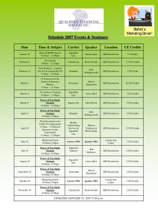 Schedule 2007 Events & Seminars