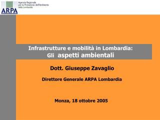 Dott. Giuseppe Zavaglio  Direttore Generale ARPA Lombardia Monza, 18 ottobre 2005