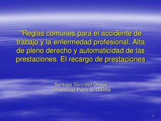 Santiago González Ortega. Universidad Pablo de Olavide