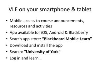 VLE on your smartphone & tablet