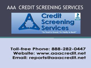 Background and Credit Check Services- aaacredit.net