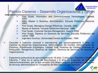 Patricio Cisneros – Desarrollo Organizacional y RRHH