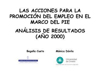 LAS ACCIONES PARA LA PROMOCIÓN DEL EMPLEO EN EL MARCO DEL PIE  ANÁLISIS DE RESULTADOS (AÑO 2000)