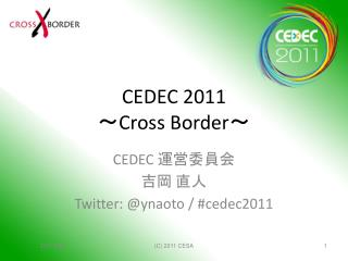 CEDEC 2011 ~ Cross Border ~
