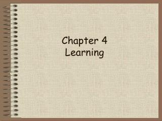 Chapter 4 Learning
