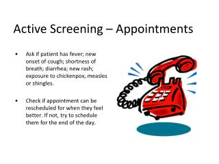 Active Screening – Appointments