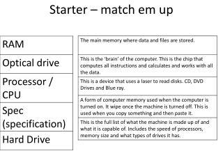 Starter – match  em  up