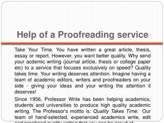 Help of a Proofreading service