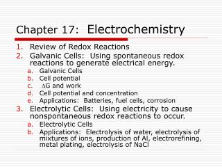 Chapter 17:  Electrochemistry