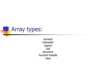 Array types: