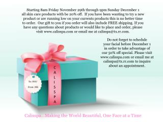 Starting 8am Friday November 29th through 9pm Sunday December 1