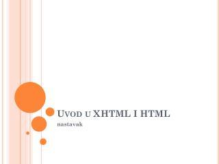 Uvod u XHTML I HTML