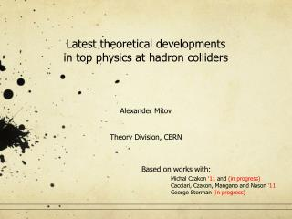 Latest theoretical developments  in top physics at hadron colliders