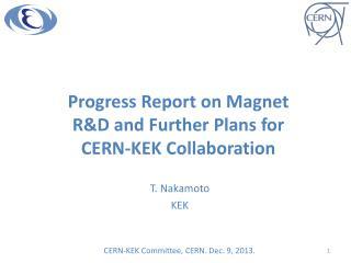 Progress Report on Magnet R&D and Further Plans for CERN-KEK Collaboration
