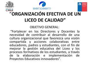 """"""" ORGANIZACIÓN  EFECTIVA DE UN LICEO DE  CALIDAD"""""""