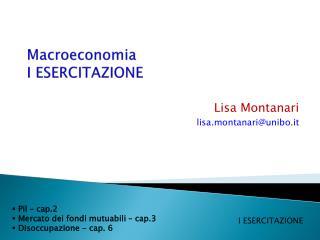 Macroeconomia I ESERCITAZIONE