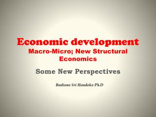 Economic development Macro-Micro; New Structural Economics