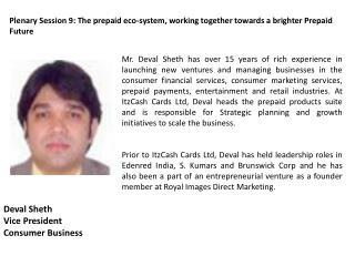 Deval Sheth Vice President Consumer Business