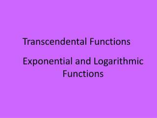 Transcendental Functions