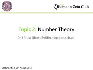 Topic 2:  Number Theory