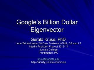 Google's Billion Dollar Eigenvector