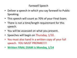 farewell speech coomunications Ronald reagan farewell speech essay 1221 words | 5 pages advanced technical communications: paper assignment #1 february 27, 2012 on.